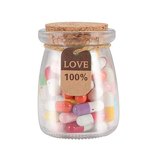 Topwor 60 UNIDS Mensaje Botella con Caja de Papel Mensaje Carta Cápsula Lindo Amor Píldora Mini Deseo Botella Papel Almacenamiento de Scrip para Cumpleaños Amor de los niños