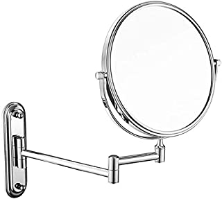 Makeup Vanity Mirror, Two-Sided Wall Mounted Beauty Mirror Multiple Magnification Bathroom Mirror 360° Swivel Extendable Cosmetic Mirror 6inch,Black_10x,Bathroom