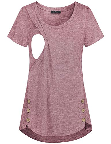 Quinee Women's Casual Button Side Nursing Tops Maternity Breastfeeding Tunic, Rose Red, XX-Large