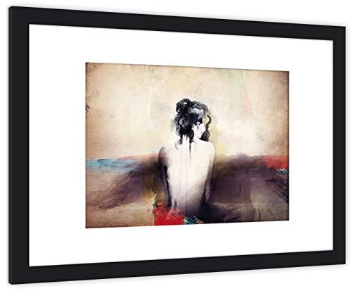 GaviaStore Art Prints - Dama 4 - con Marco 70x50 cm - Cuadros Impresiones Pintura Cartel Foto Mueble hogar impresión decoración casa Sala Poster Cuadro Imagen Enmarcado Wall Picture