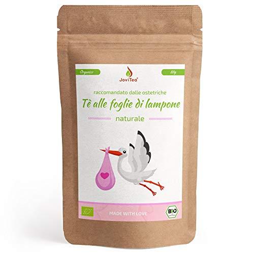 JoviTea Tè di foglie di lampone BIO 80g - Tè alle erbe - anche durante la preparazione al parto - Tè per gravidanza - Da coltivazione biologica.