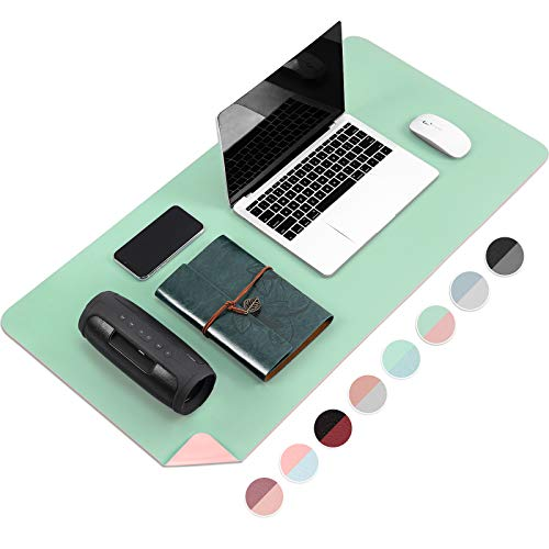 Large Desk Pad Protector, Multi-Color Double Sided Mouse Pad, Premium PU Leather Desk Blotter, Waterproof Surface, Desktop for Gaming, Writing, Home Office Work (Water Green/Pink, 27.6' x 13.7')