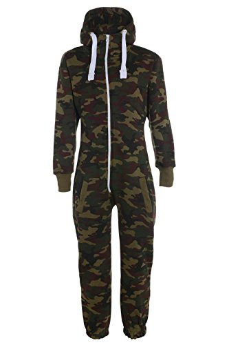 KINDER ARMY MILITÄR CAMO ONESIE ZIP UP ALL IN ONE HOODED JUMPSUIT 7-14 Jahre (11-12, Armee Grün)