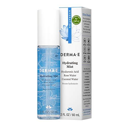 DERMA-E Hydrating Face Mist with Hyaluronic Acid, Rose, 2 Fl Oz