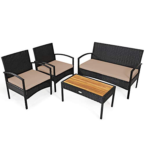 Tangkula 4 Pieces Patio Rattan Furniture Set, Outdoor Conversation Set w/Tempered Glass Coffee Table, Loveseat & 2 Single Chairs, Wicker Sofa Furniture Set for Lawn Poolside Backyard