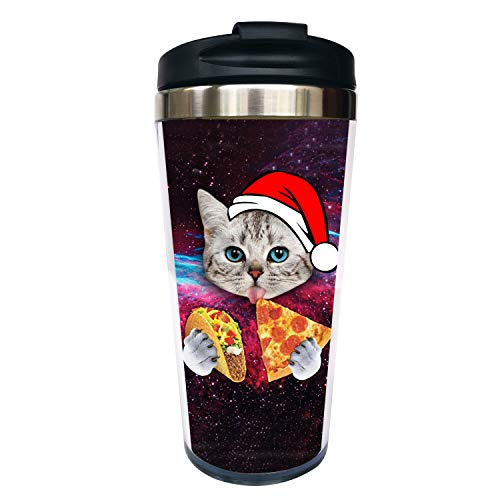 Waldeal Space Pizza Cat con gorro de Papá Noel Taza de café de viaje con tapa abatible, vaso de acero inoxidable, botella de agua de 425 ml, divertida taza de Navidad para...