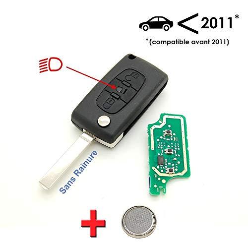 Sleutel + elektronica voor het programmeren, Citroën C4 Picasso, 3 toetsen, koplampen, zonder groef