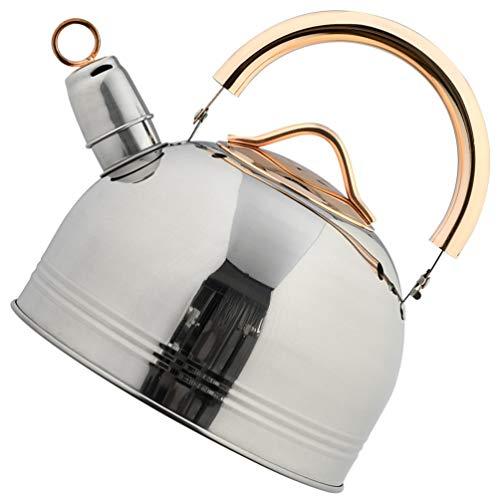 YARNOW Tetera de Acero Inoxidable Tapa de La Estufa Que Silba Hervidor de Agua Calentador de Agua Hervidor de La Estufa Tetera con Mango a Prueba de Calor 3L para Estufa de Gas Cocina de