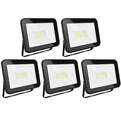 Karpal - Juego de 5 focos LED para exteriores (20 W, 1600 lúmenes, 3000 K, luz blanca cálida, IP65, resistente al agua, para jardín, garaje, campo deportivo, patio