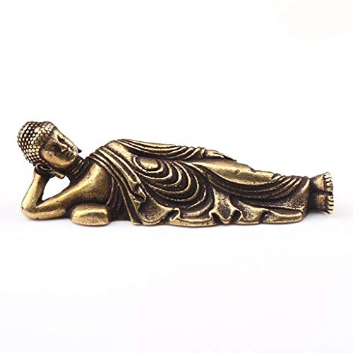 ANWUYANG Solid Pure Brass Buddha, Antique Copper Guanyin Sleeping Buddha Statue, Vintage Brass Figurine Small Ornament, Home Decor Craft