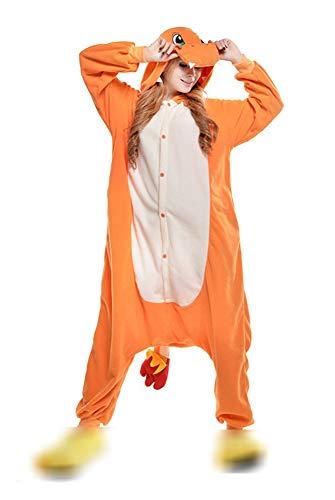 Unisex Adulto Pijamas Cosplay Disfraces Halloween Animal Pijamas Invierno Mono (L, Charmander)