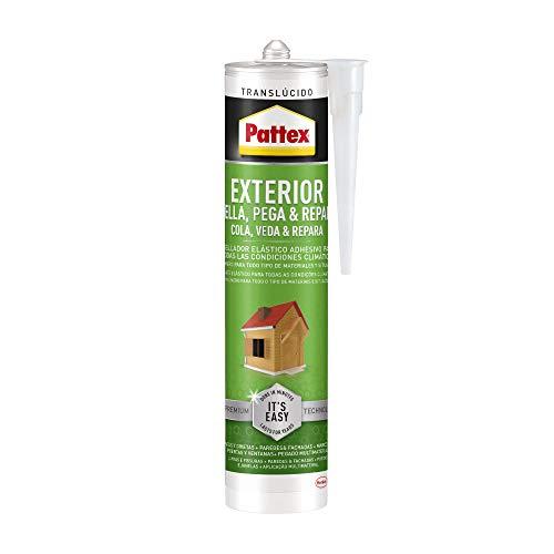Pattex Exterior Sella, Pega & Repara, sellador exterior duradero, polímero transparente resistente a las condiciones climáticas, cubrejuntas pintable, 1 cartucho x 280 ml