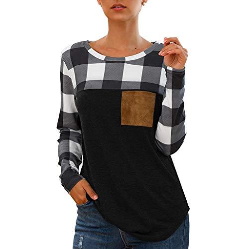 Cebbay Damen-Hemd, lässig, Rundhalsausschnitt, Langarm, kariert, mit Aufdruck, klassisches T-Shirt, komfortabel, Tops Gr. Small, Schwarz