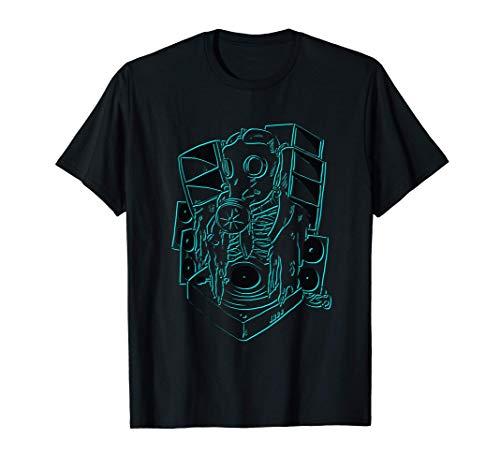 Techno Gas Mask Vinyl Tekno Skelett Lautsprecher Boxen Wand T-Shirt