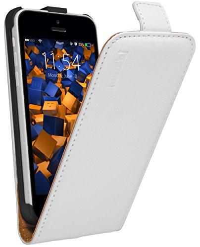 mumbi Echt Leder Flip Case kompatibel mit iPhone 6 / 6S Hülle Leder Tasche Case Wallet, Weiss