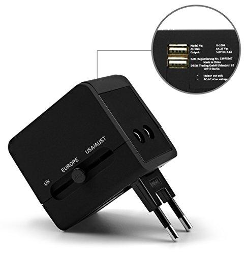 MyGadget Reiseadapter Weltweit - Reisestecker 2 USB Ports für 150 Länder (UK, USA, EU, AU) - Universal Travel Adapter Plug Reise u.a. Australien, England, UK
