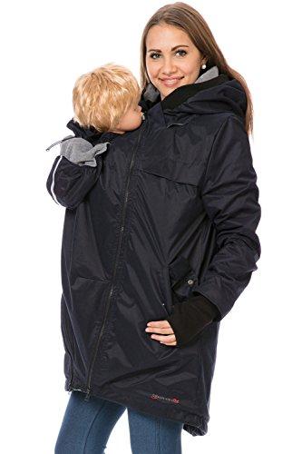 GoFuture Damen Tragejacke für Mama und Baby 4in1 Känguru Jacke Umstandsjacke aus Soft Shell und Fleece (L, Marine Plus Grau)