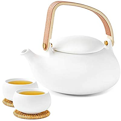 ZENS Ceramic Teapot Set, Modern Japanese Tea Pot Set with Infuser for Loose Tea, 27 Ounce White Matte Porcelain Teapots with 2 Teacups & Rattan Coasters for Gift