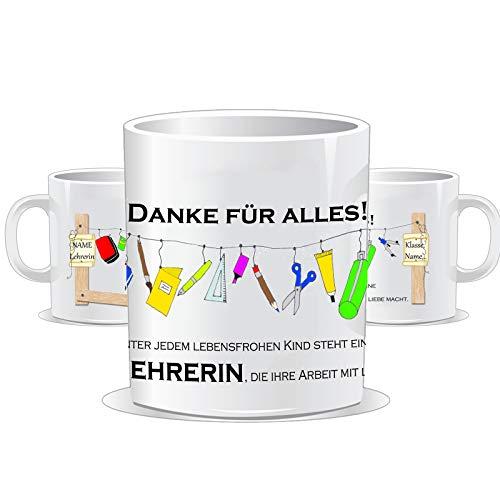 Tasse für den Lehrer oder die Lehrerin/Personalisierbar mit Klasse und/oder dem Namen des Kindes + Lehrer bzw. Lehrerin/Tassen farbe wählbar