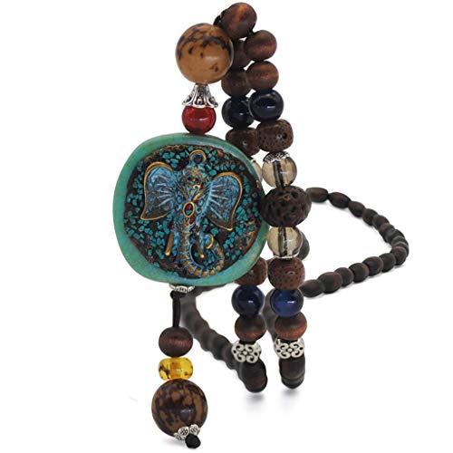 KINTRADE Collana Nepalese Etnica Fatta a Mano, Perline di Legno Buddista, Lunga Catena di Gioielli in Maglione
