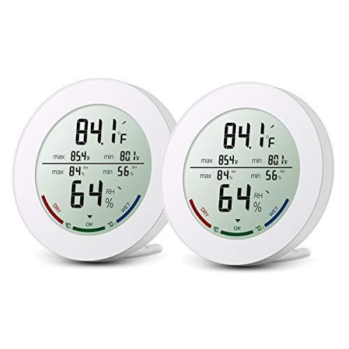 ORIA Digitales Thermometer Hygrometer, Indoor Mini Luftfeuchtigkeit Messen mit LCD-Bildschirm, MIN/MAX-Aufzeichnungen, Trend, °C/°F-Schalter - Weiß