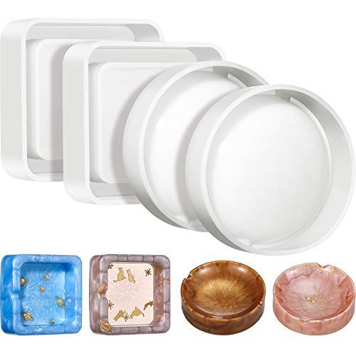4 Pieces Silicone Ashtray Mold Square Epoxy Resin Tray Mold Round Shape Ashtray Mold DIY Casting Epoxy Mold for DIY Ashtray Mold Making Supplies, 2 Styles