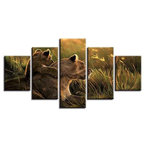 5 Teilige Leinwandbilder Leinwandbilder Home Decor Frame Hd-Drucke 5 Stück Lions Paintings Grassland Wild Animal Poster Modulare Wohnzimmer Wandkunst-150 * 80cm