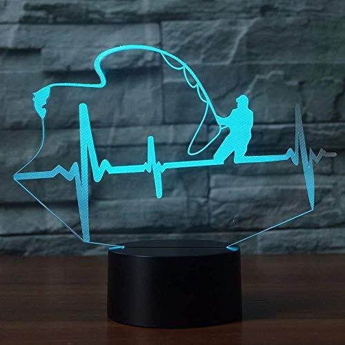 Lámpara de mesa con forma de latido del corazón, luz nocturna LED 3D, 7 colores que cambian, lámpara creativa para entusiastas de la pesca, interruptor táctil, regalo para niños