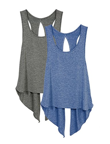 icyzone Damen Tank Tops Casual Kurzarm Rückenfrei Shirts für Yoga Workout (XL, Charcoal/Denim)