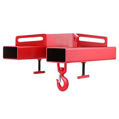 Mophorn Forklift Lifting Hook, 6600lbs Capacity Forklift Lifting Hoist, Red Forklift Mobile Crane with Swivel Hook and Two Large T-Screws, Hook Forklift Lifting Hoist, Fork Lifting Attachment