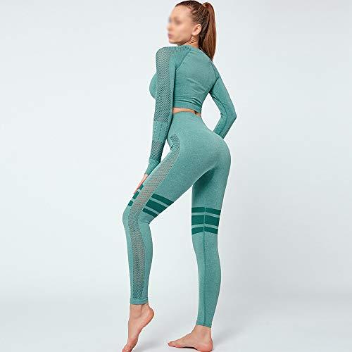 XIAMIMI Nahtlose 2-teiliges Set Frauen-Sport-Klage Gymnastik-Trainings-Kleidung Long Sleeve Fitness Crop Top und kneten Hintern Leggings Yoga Set,Grün,S