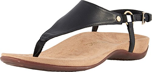 Vionic Women's Rest Kirra Backstrap Sandal - Ladies Sandals with Concealed Orthotic Arch Support Black 8 Medium US