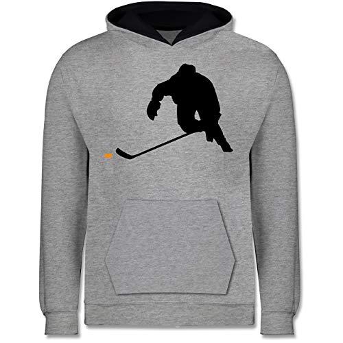 Sport Kind - Eishockey Sprint - 152 (12/13 Jahre) - Grau meliert/Navy Blau - Eishockey Hoodie Kinder - JH003K - Kinder Kontrast Hoodie