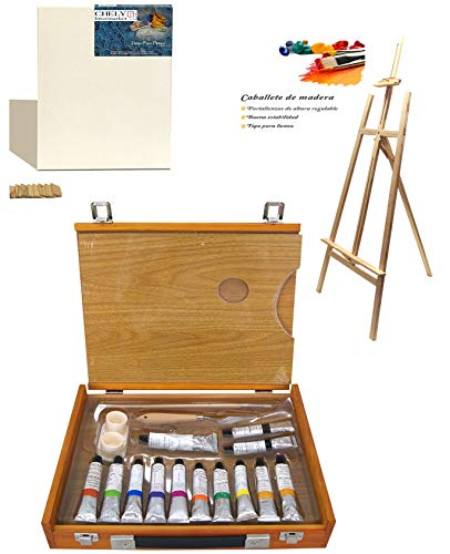 Chely Intermarket Set de Pintura de 20 pzas maletín de madera con lienzos para pintar de 50x70cm, caballete de madera 145cm, pinturas al oleos, pincel y paleta. Kit ideal para aficionados en pintura.