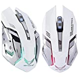 Jacksking Wireless Mouse, 2.4G Wireless Rechargeable Gaming Ergonomics Optical Mouse Mice 2400DPI for PC Laptop Computer(#2)