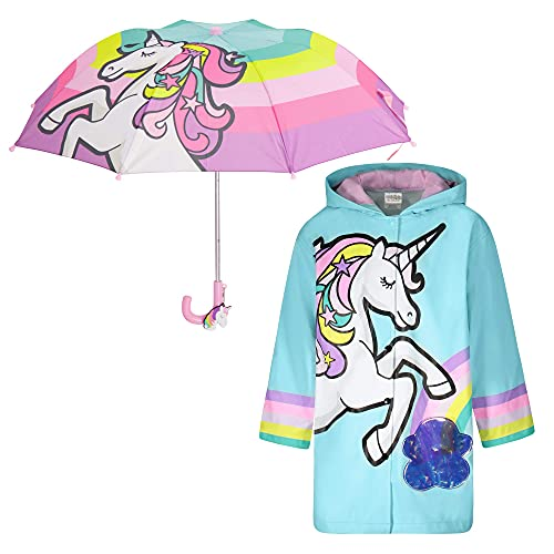 Kids Umbrella and Raincoat Set for Boys and Girls Ages 3-7 (Unicorn Design)