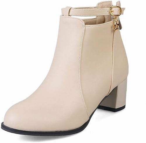 Fuxitoggo Stiefel para damen - Stiefel de Invierno de tacón Alto Stiefel Martin Stiefel de Moda para damen schuhe de Gran tamaño para damen 35-43 (Farbe   Buff, tamaño   42)