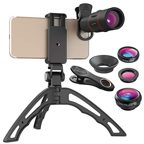 Xiaolizi Outstanding 18X Zoom Telescope Mobiele Telefoon Lens, Monoculaire lens met 4 in 1 fisheye brede macro-lens+mini statief voor bijna smartphones.