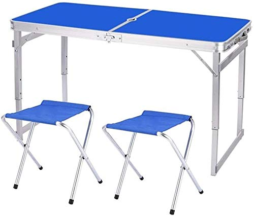 LQ Tablas Tabla Taburetes Plegables 1,6 M Que acampa de Aluminio Ligero portátil Cubierta jardín al Aire Libre de la Comida campestre con Orificio de Parasol (Size : 1 Table+2 Stools a)