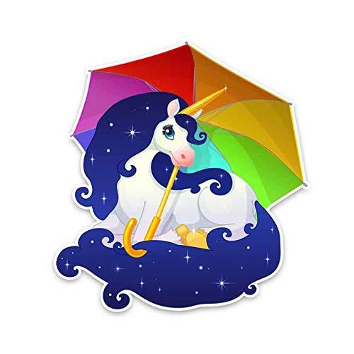 XXYMCB 13 cm * 14 cm Lustig EIN Pony Mit Einem Regenbogen Regenschirm PVC Wasserdicht Aufkleber Auto Aufkleber 5 Stücke