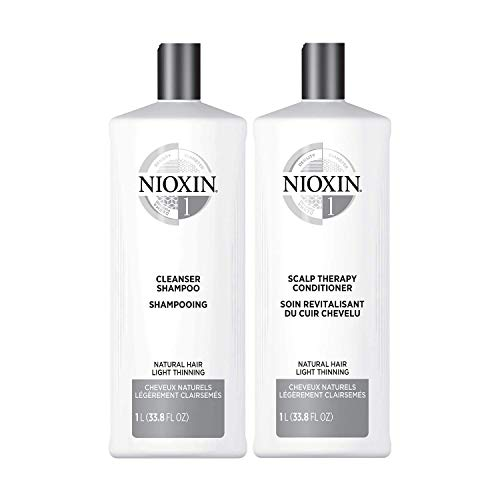 Nioxin System 1 for Natural Hair with Light Thinning Cleanser Shampoo (33.8 Ounce) and Scalp Therapy Conditioner (33.8 Ounce) Set