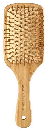 Rozia Pro Hair Brush Wooden Detangling Brushes Natural Detangler Paddle Hairbrush for Women Men Kids Stimulate Scalp Help Growth Add Hair Shine