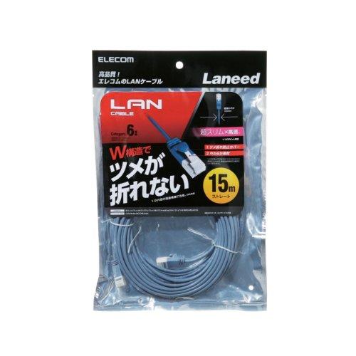 エレコム ツメ折れ防止LANケーブル スリムタイプ Cat6準拠 ブルー 15m RoHS指令準拠 LD-GPST BU150 ELECOM