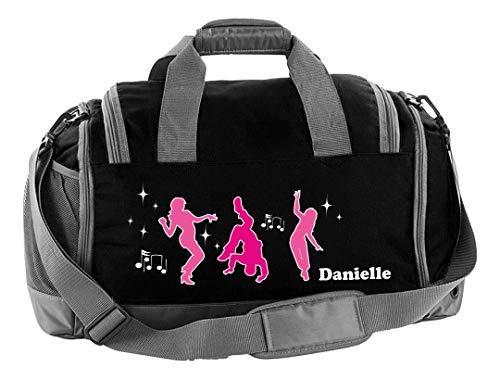 Mein Zwergenland Sporttasche Kinder mit Schuhfach und Nassfach Kindersporttasche 41L mit Namen personalisiert, Motiv Tänzer, in Schwarz