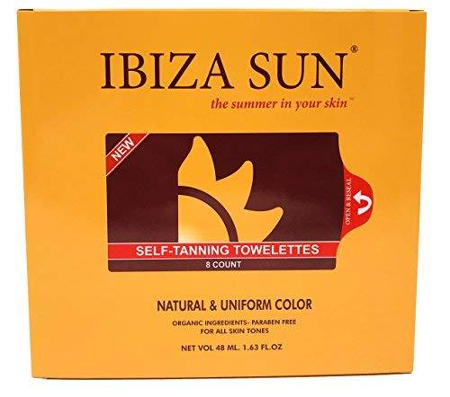 Ibiza Sun Toallitas Autobronceadoras Orgánicas y Naturales.Libres de Parabenos, Aptas para Veganos,Sin Perfume. Color de verano en solo 3 horas y por varios dias.Pack de 8 unidades.