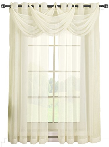 Solid Abri Grommet, 24-Inch Wide-by-24-Inch Long, 1 Crushed Sheer Waterfall Valance, Ivory