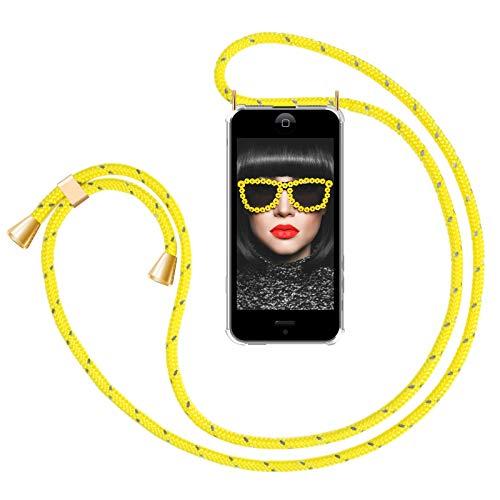 ZhinkArts Handykette kompatibel mit Apple iPhone 5 / 5S / SE (2016) - Smartphone Necklace Hülle mit Band - Handyhülle Case mit Kette zum umhängen in Gelb reflektierend