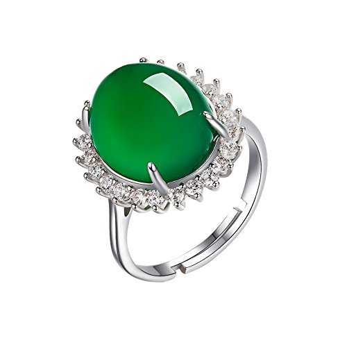 AIUIN 1pcs Anillo Plata Tamaño Ajustable Jade Verde