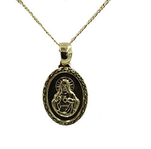 Sagrado Corazon de Jesús – Colgante de corazón sagrado de Jesús chapado en oro de 18 K medalla con cadena de 20 pulgadas