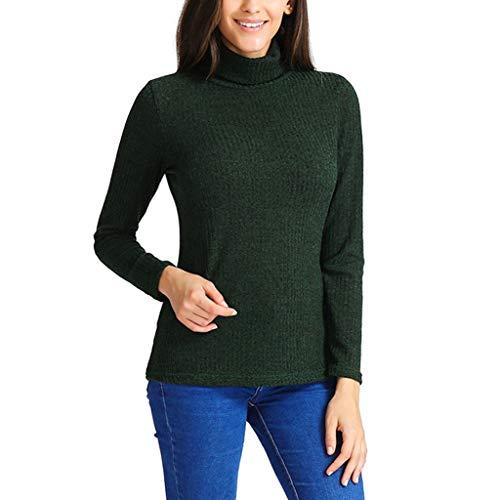 IZHH Mode Damen Tops, Rollkragen Langarm Slim Fit Baumwolle Einfarbig T-Shirt Lässig Täglich Büro Tops Langarmshirt(Grün,Large)